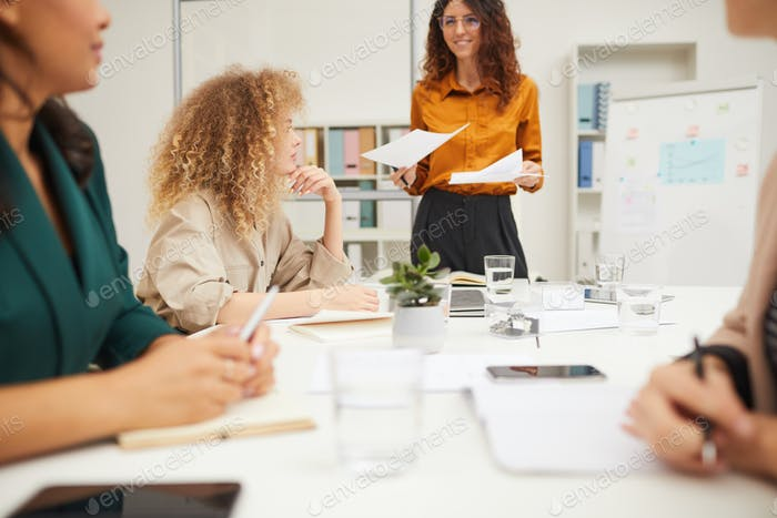 Young Adult Woman Making Business Presentation
