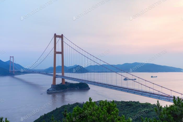 zhoushan xihoumen bridge in sunset