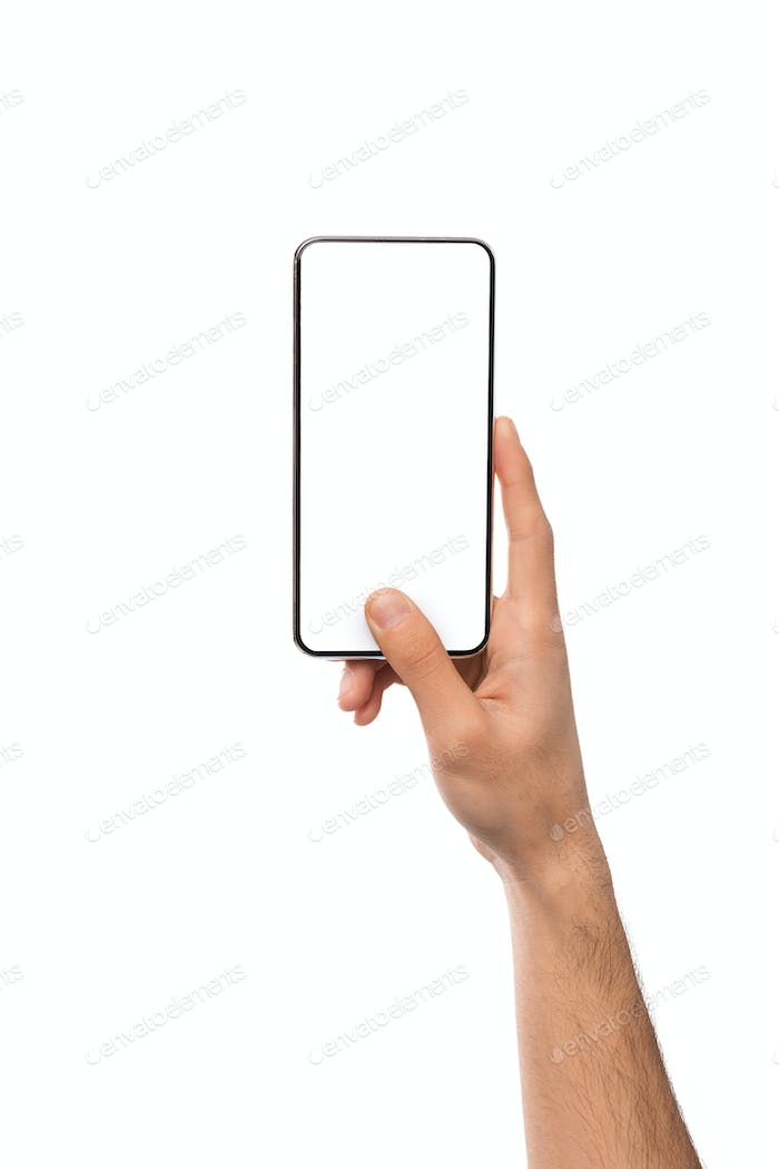 Mockup image of male hand holding smartphone with blank screen