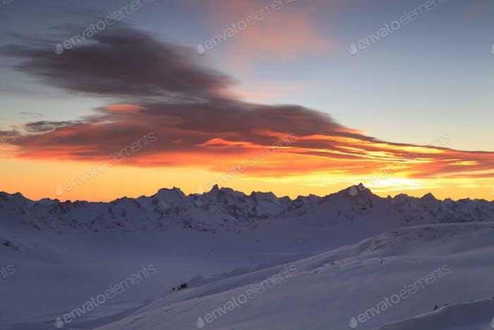 Beautiful sunset over the mountain ridge. Caucasus