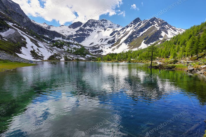 Glacial Arpy lake near Morgex, Aosta Valley in north Italy