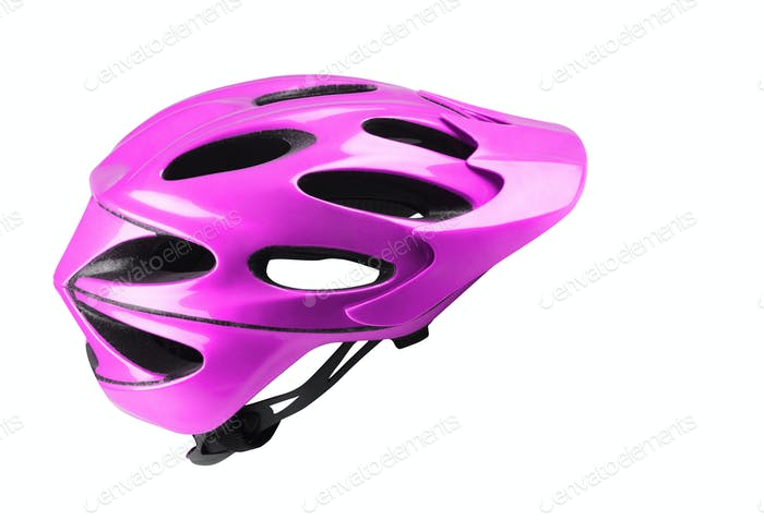 Velvet bike helmet on white background