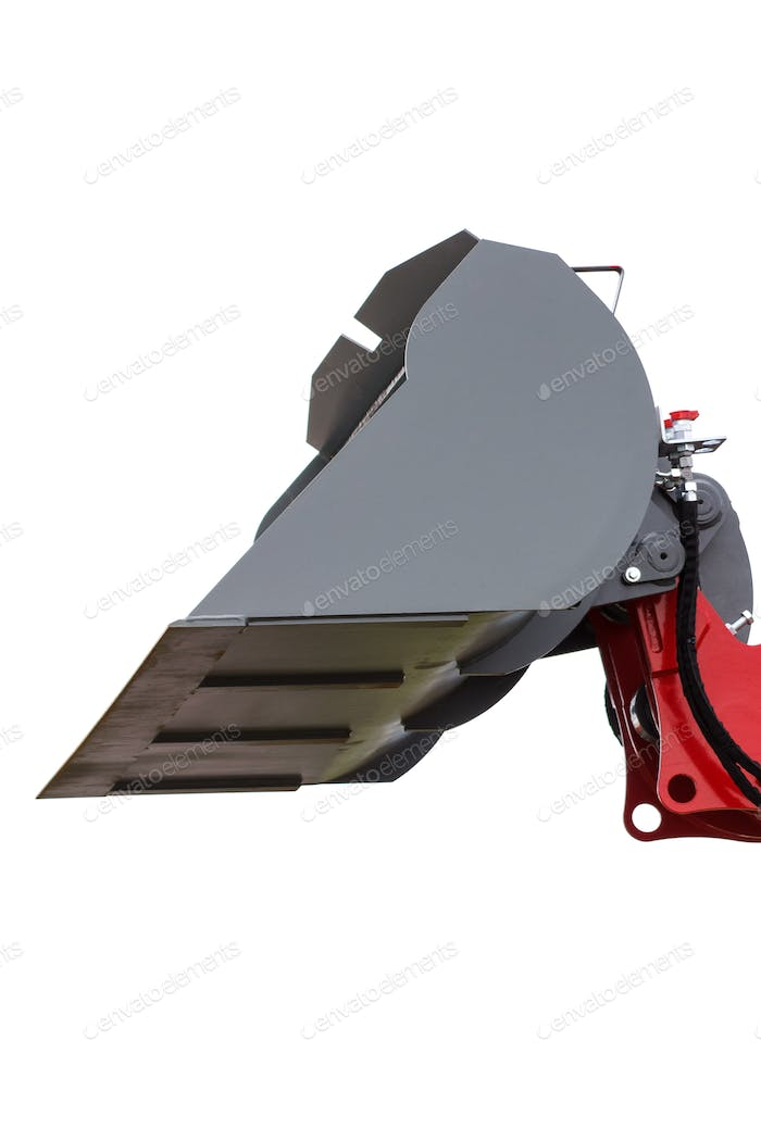 Closeup of excavator or bulldozer shovel on white background, part of industrial machinery