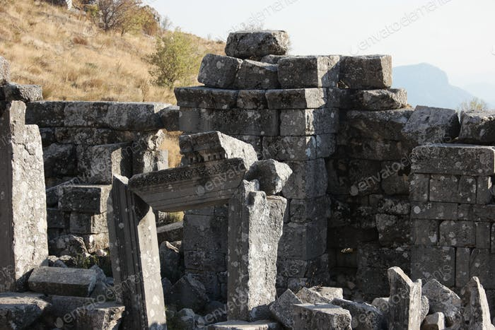 Ruins of destroyed ancient buildings. Hierapolis, Turkey.