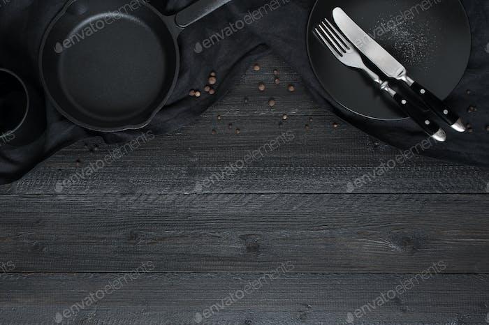Black Wooden Kitchen Background
