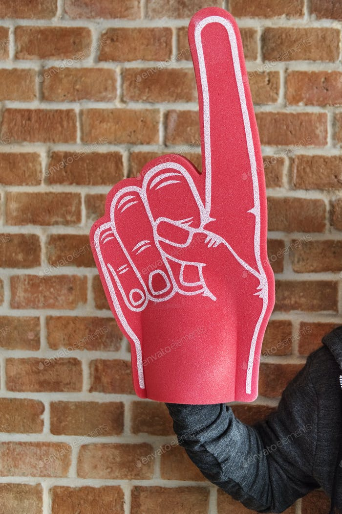 Man with sport number 1 fan glove