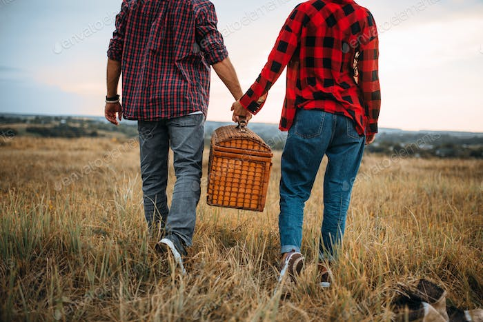Love couple with basket, picnic in summer field