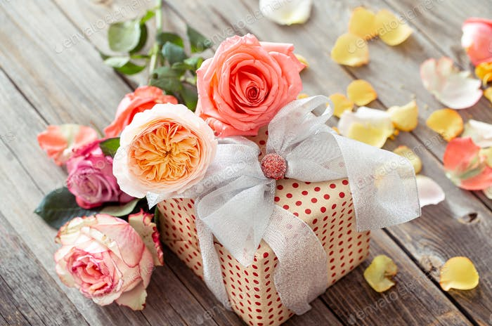 Gift with roses for Valentine's Day or women's day