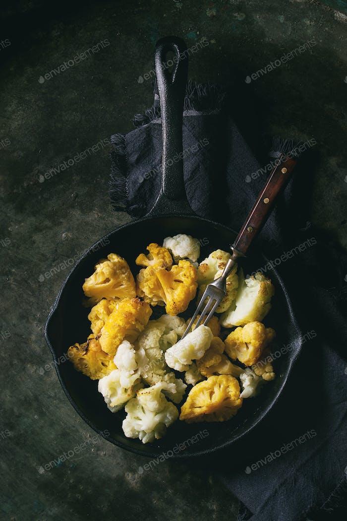 White and yellow cauliflower gratin