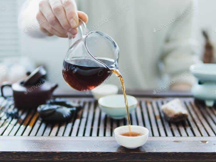 Chinese puerh tea ceremony