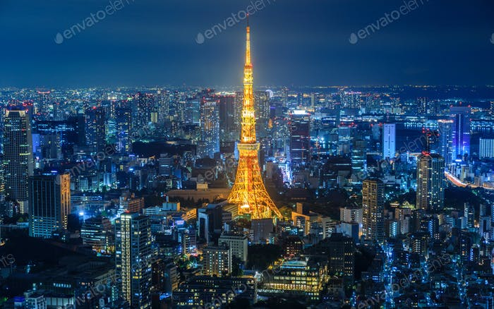 Tokyo city at night, Japan