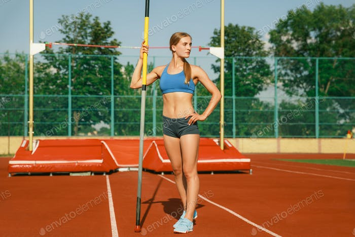 Thumbnail for Female high jumper training at the stadium in sunny day