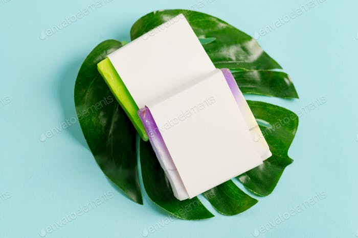 Multicolored handmade herbal natural soap bar from organic plant with paper label on a tropical leaf