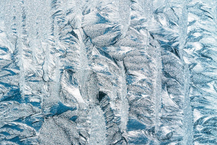 Blue Frosty Glass Ice Background, Natural Beautiful Snowflakes F