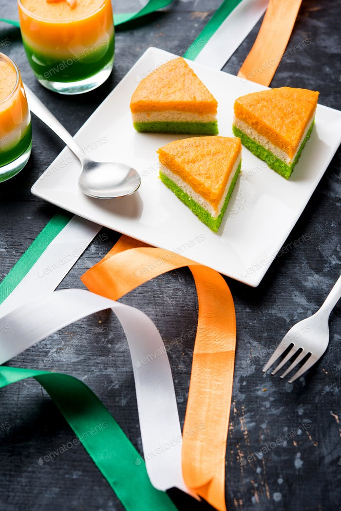 Three coloured cake for Indian Independence, republic Day celebration
