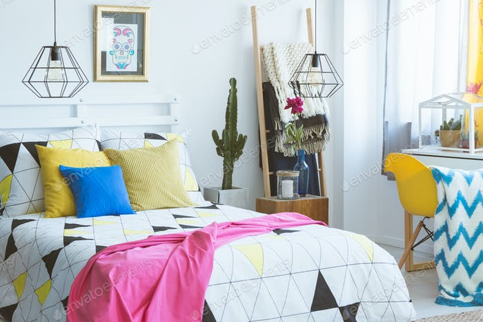 Modern bedroom with colorful accents