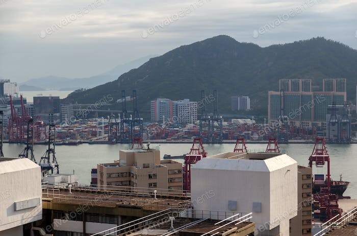 Container port wide river between Hong Kong industrial districts