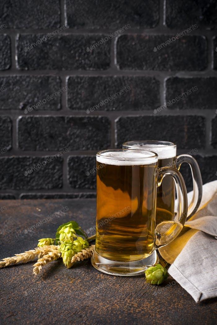 Mugs of beer, hops and malt