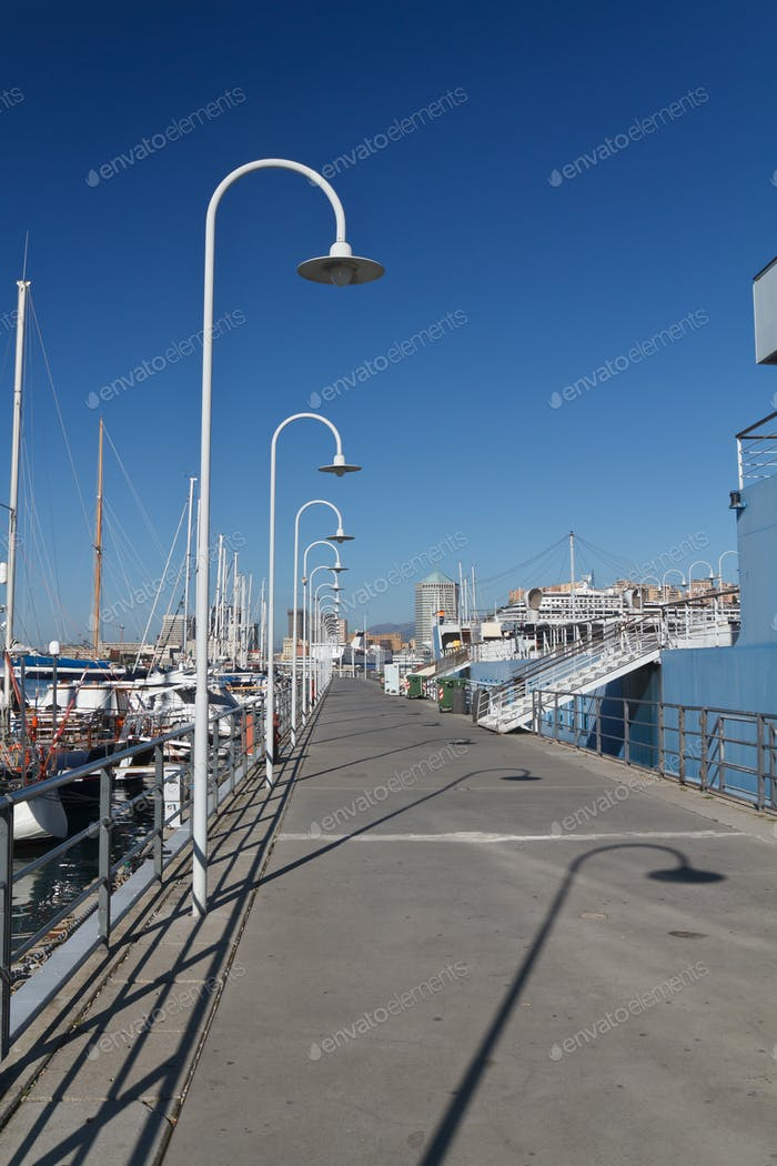 Genova harbour with promenade