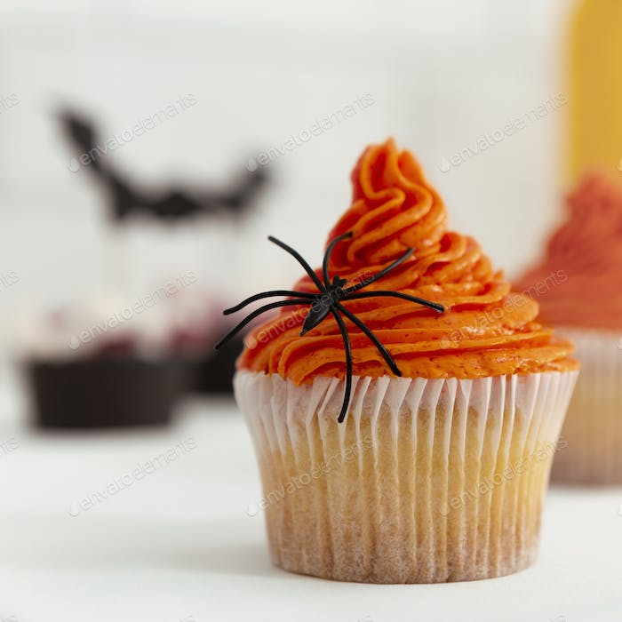 Tasty cup cake with season pumpkin decoration