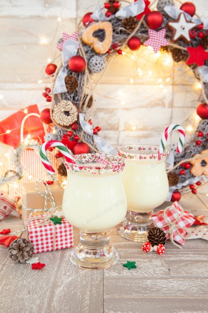 Egg nog with candy cane