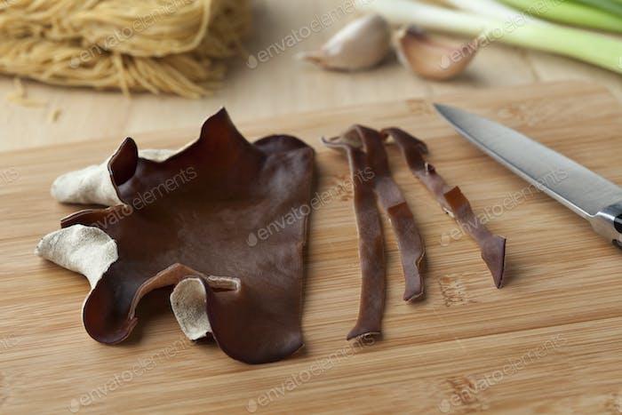 Jews ear mushroom cut into slices