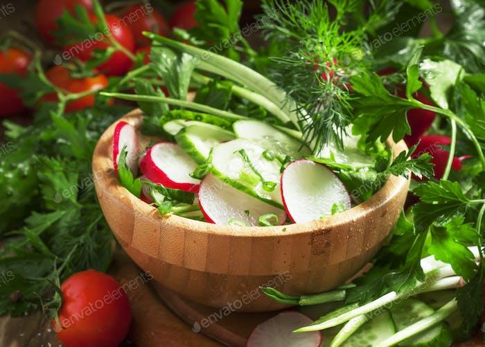 Vegetarian salad with radishes, cucumber, tomato, wild garlic