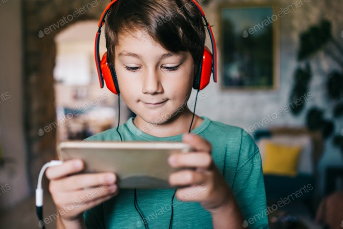 Boy playing videogames