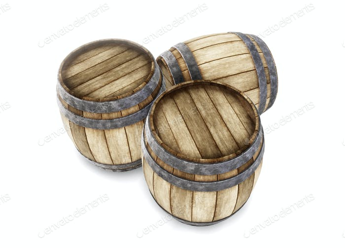 Three old wooden barrels isolated on white background. 3d render
