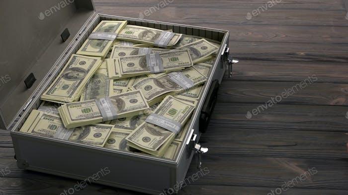Maletín con dólares.