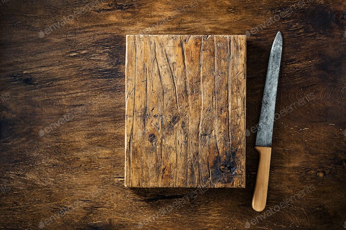 Vintage old knife and Empty cutting Board