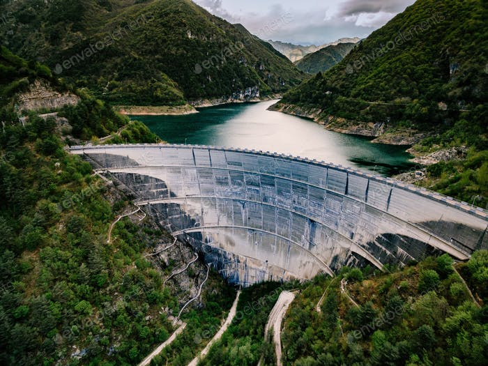 Valvestino Dam in Italy. Hydroelectric power plant.