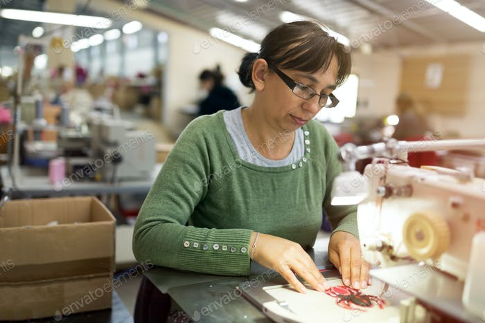 Woman working in textile industry