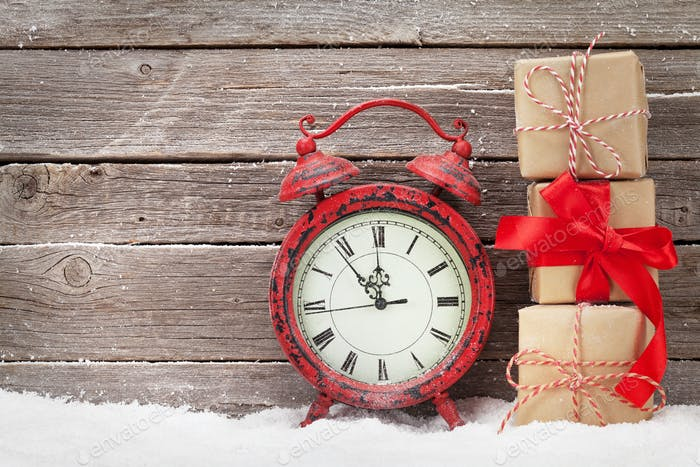 Christmas alarm clock and gift boxes