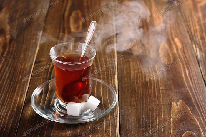 Hot Turkish tea with steam