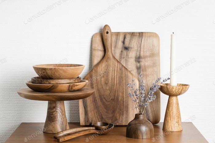 Set of Wooden Kitchenware.