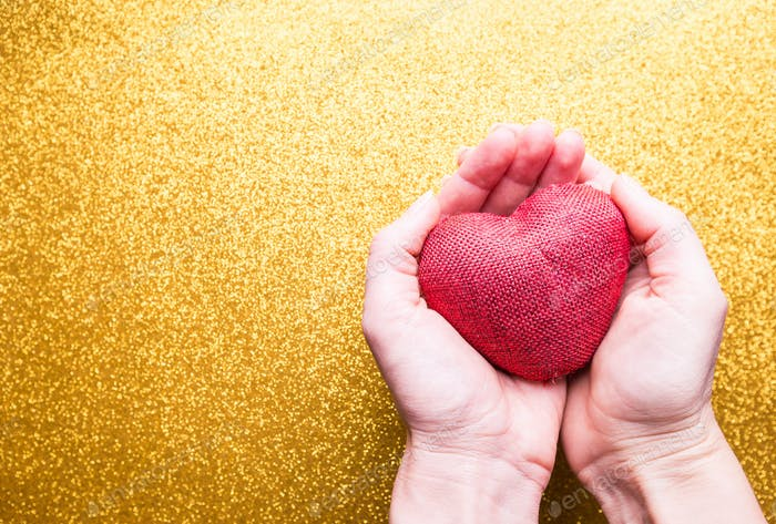 Red Heart on gold background