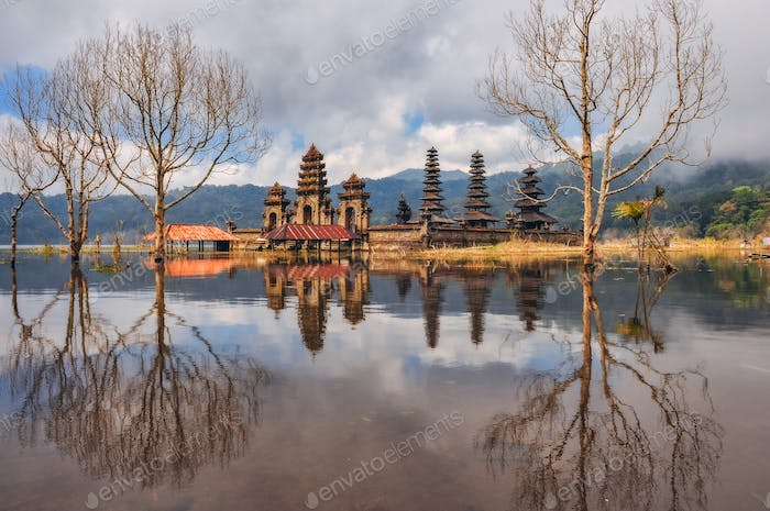 Traditional balinese temples on the lake with the reflection, Bali