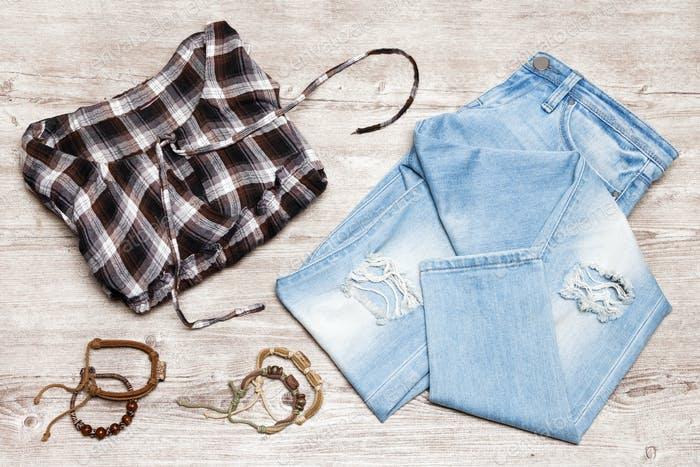 Hippie fashion style women outfit