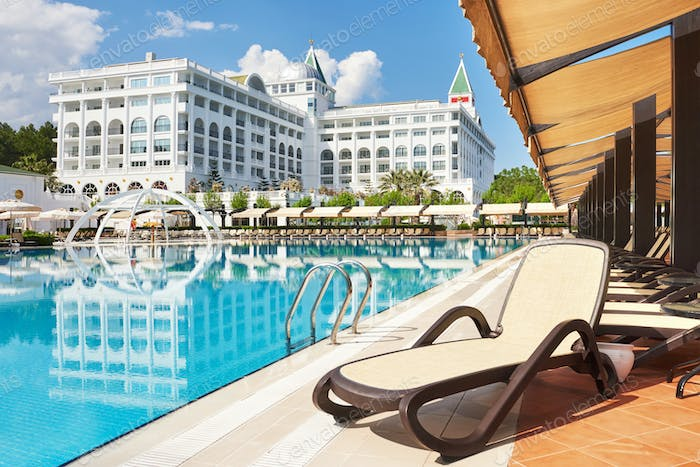 The popular resort Amara Dolce Vita Luxury Hotel. With pools and water parks and recreational area