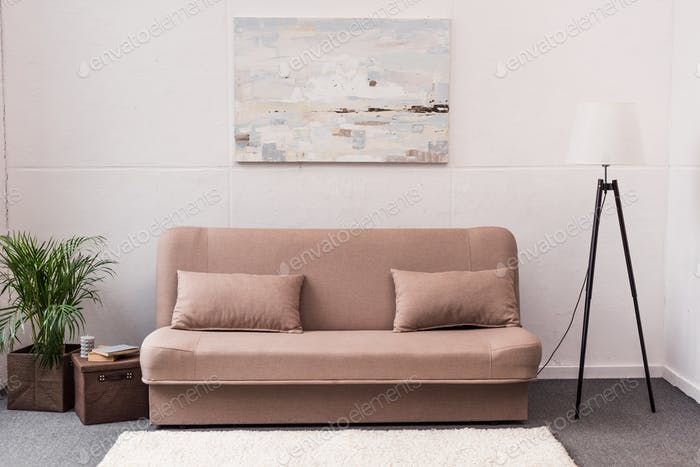 interior of stylish living room with comfortable couch