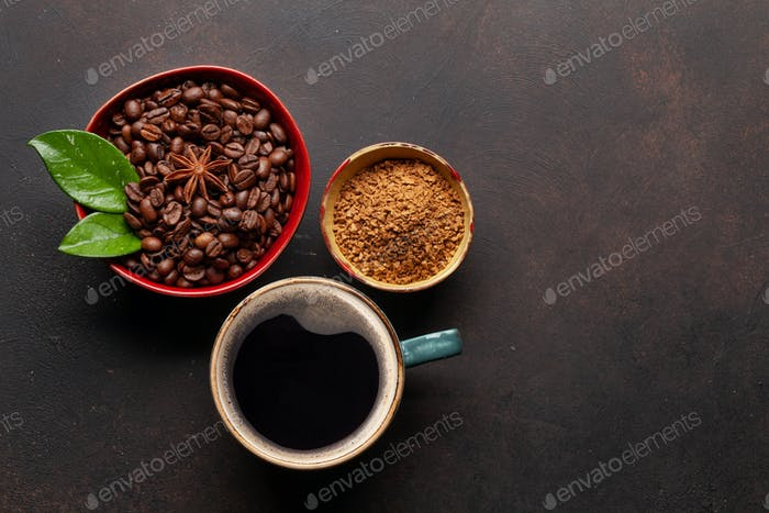 Roasted coffee beans, ground powder and cup