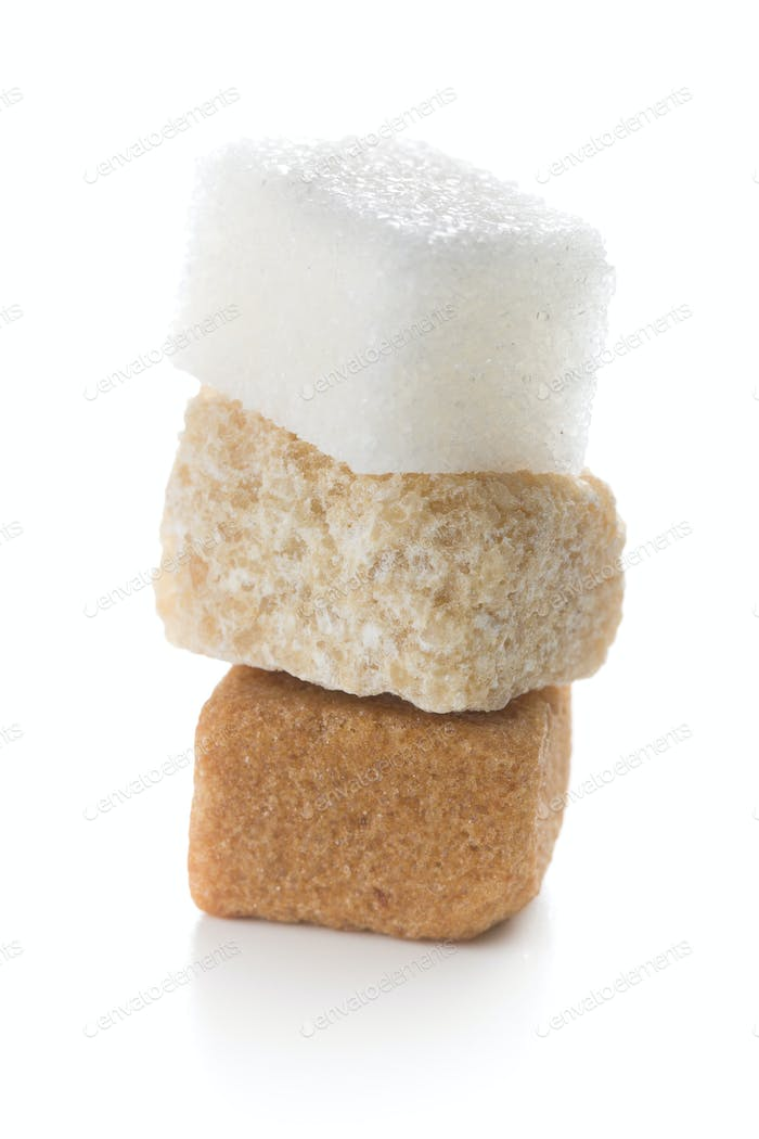 three different sugar cubes