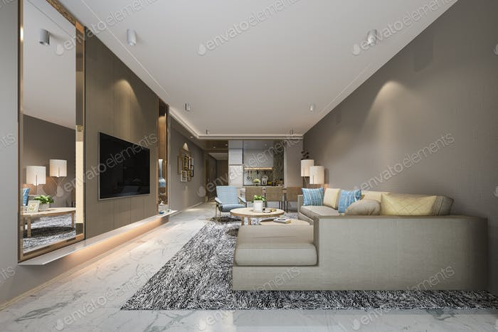 3d rendering modern dining room and living room near kitchen with luxury colorful decor