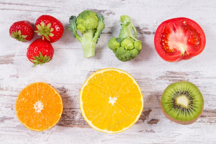 Fresh ripe fruits and vegetables as sources vitamin C, fiber and minerals