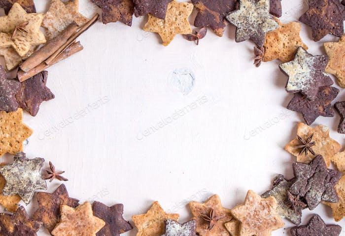 Christmas ginger cookies with cinnamon sticks