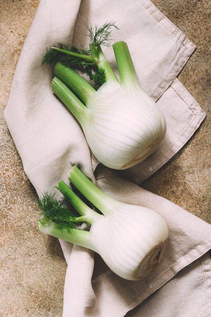 Two bulbs of fresh fennel