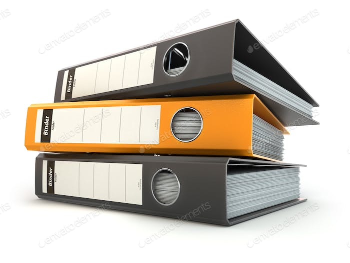 File folders or ring binders full with office documents.