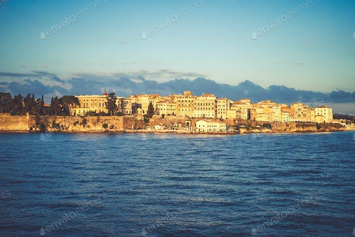 Corfu old town on the coast of the Corfu Island in the Aegean se