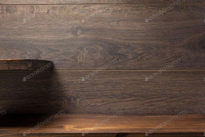 wooden shelf on brown